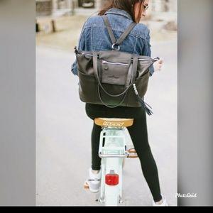 LILY JADE Black Leather Bag/Backpack/Crossbody